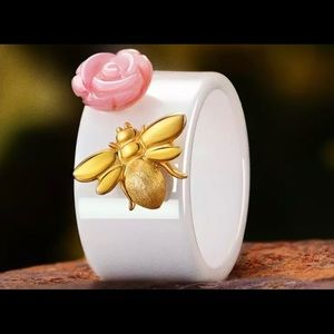 Bee kiss Rose Ceramic Wide White & Pure 925